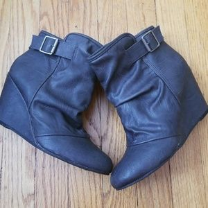 Madden Girl Charcoal Grey Wedge Booties